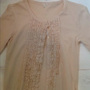 Sweet ruffle front cardigan, light champagne color